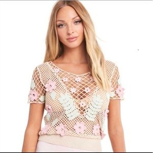 Wildfox Edita Bloom Crochet Top